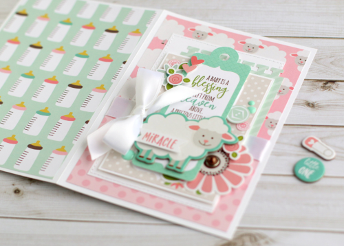 "Little lamb card by Anya Lunchenko with the ""Sweet Baby Girl"" collection by #EchoParkPaper"