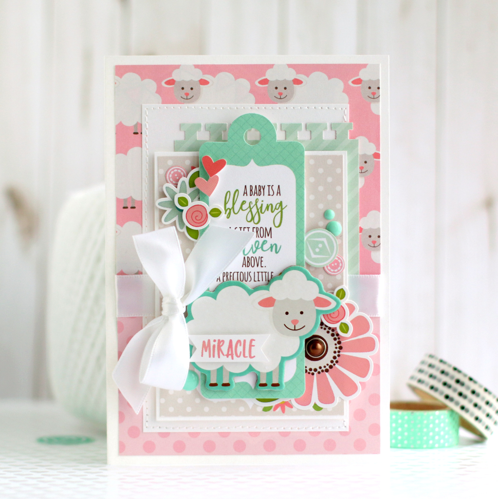 little lamb card by anya lunchenko with the sweet baby girl collection by