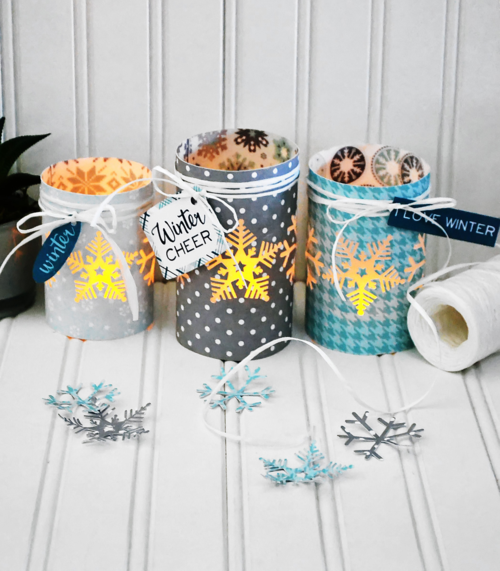 "Download the FREE supply list and instructions for this ""Hello Winter"" luminary project by Aly Dosdall for #EchoParkPaper"
