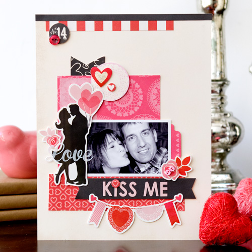 """Kiss Me"" layout by Tegan Skwiat with the ""Blowing Kisses"" collection by #EchoParkPaper"