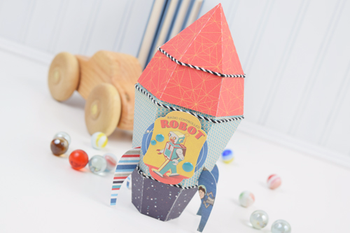 "Rocket Ship Treat box by Becki Adams with the ""Space Academy"" collection by #CartaBellaPaper"