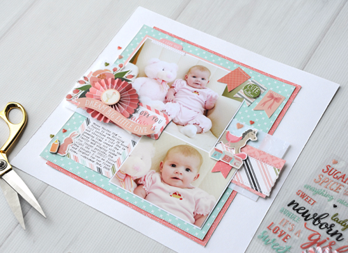 "Dream Big Layout by Jana Eubank with the ""Rock a Bye Baby Girl"" Collection, Embossing Folder, and Mini Paper Fans by #CartaBellaPaper"