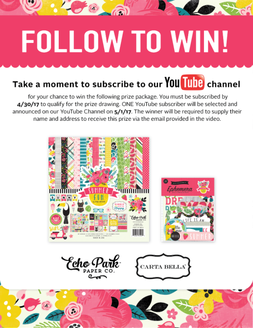Follow_to_Win_YouTube_Summer_Fun_ #EchoParkPaper #CartaBellaPaper