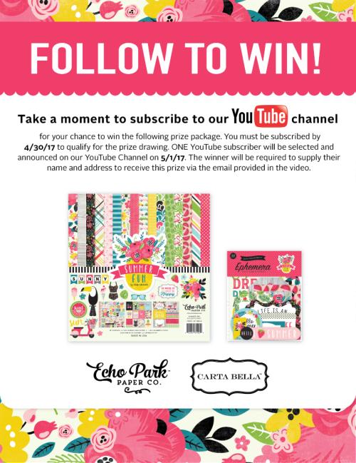 Follow_to_Win_YouTube_Summer_Fun_ #EchoParkPaper #CartaBellaPaper