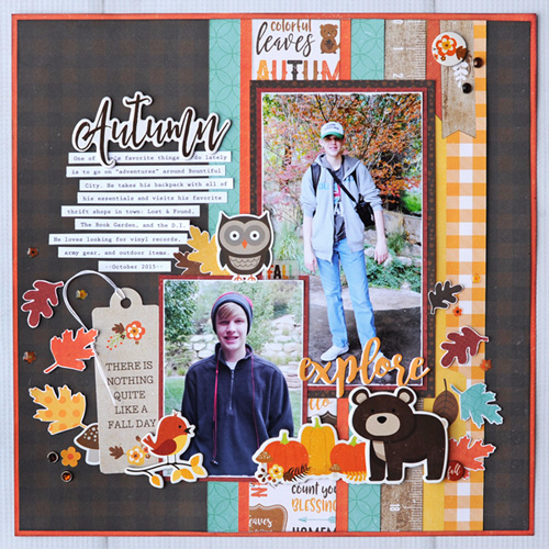 "Explore Autumn Scrapbook Page by Jana Eubank with the ""A Perfect Autumn"" collection and designer dies by #EchoParkPaper"