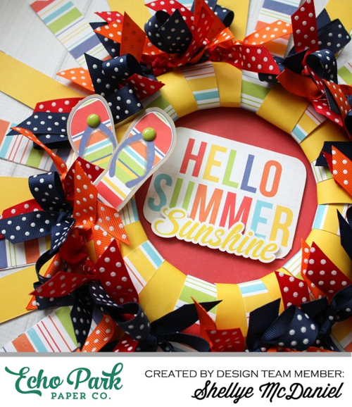 A colorful summer wreath tutorial echo park paper for Colorful summer wreaths