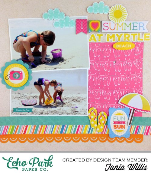 """I Love Summer"" Layout by Tania Willis featuring #echoparkpaper designer products"