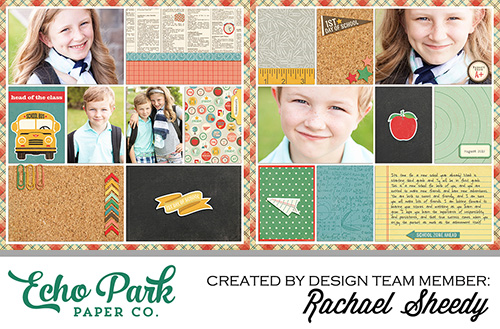 "Making Pocket Cards for Scrapbooking with #EchoParkPaper Digital Kits - layout featuring ""Teacher's Pet"" by designer Rachael Sheedy"