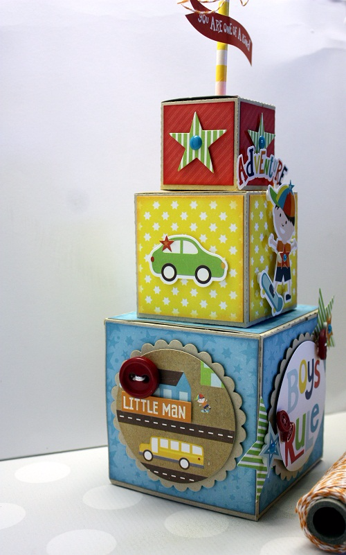 """Little Man Stacked Block Project by Shellye McDaniel for #EchoParkPaper with the """"Little Man"""" collection, designer dies, and silhouette cut files!"""