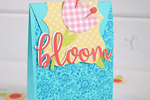 """Bloom Gift bag by designer Kimberly Crawford with the """"Spring"""" collection, designer dies, and designer stamps by #EchoParkPaper"""