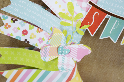 """DIY Springtime wreath by Becki Adams with the """"Spring"""" collection by #EchoParkPaper"""