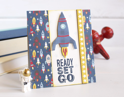 """Rocket card by Kimberly Crawford featuring the """"Pinstripes"""" collection, designer stamps, and designer dies by #EchoParkPaper"""