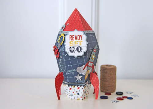 """3-D Paper rocket by Jana Eubank with the """"Pinstripes"""" collection by #EchoParkPaper and Silhouette!"""