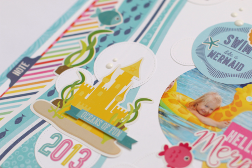 "Hello Gorgeous Scrapbook Layout by Anya Lunchenko for #EchoParkPaper with the ""Let's Be Mermaids"" collection"