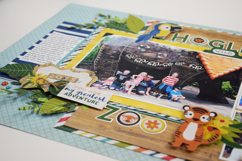 """Two Page Zoo layout by Becki Adams featuring the """"Jungle Safari"""" collection by #EchoParkPaper"""