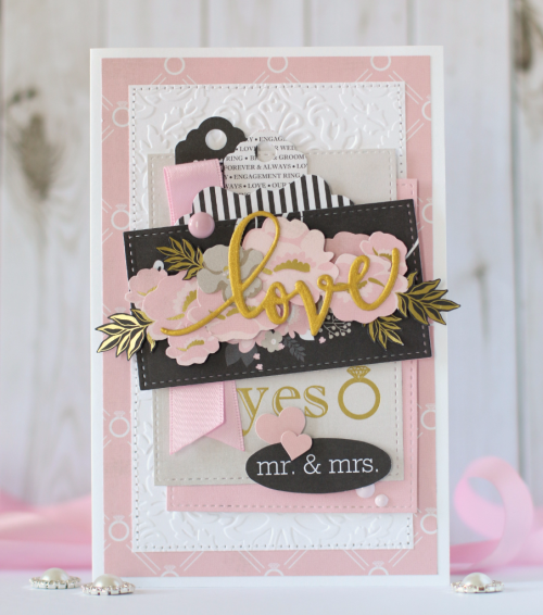 "Use the ""Wedding Bliss"" collection from #EchoParkPaper to create this beautiful layered and embossed wedding card by Anya Lunchenko"