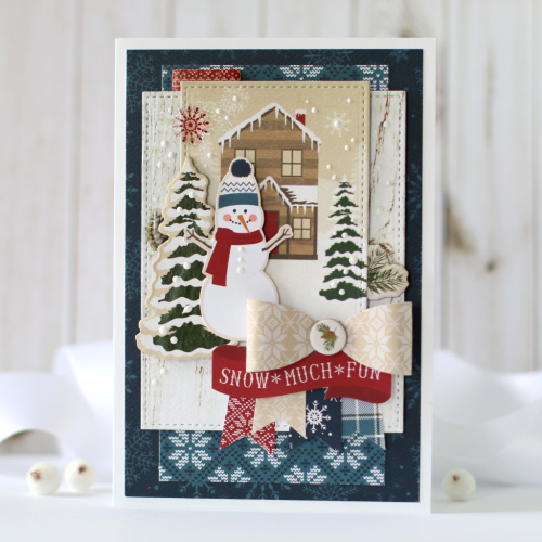 """""""Snow Much Fun"""" Winter Card by Anya Lunchenko with the """"Cabin Fever"""" Collection by #CartaBellaPaper"""