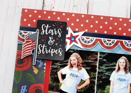 "Patriotic Layout by Jana Eubank featuring the ""Celebrate America"" collection from #EchoParkPaper"