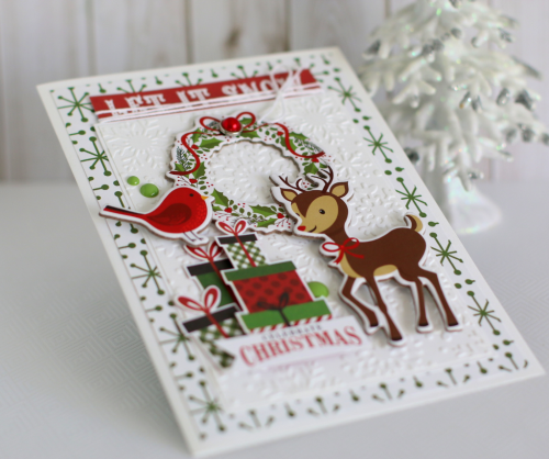 "Let It Snow Embossed Christmas card by Anya Lunchenko for #EchoParkPaper, featuring the ""Celebrate Christmas"" collection and Designer Embossing Folder"