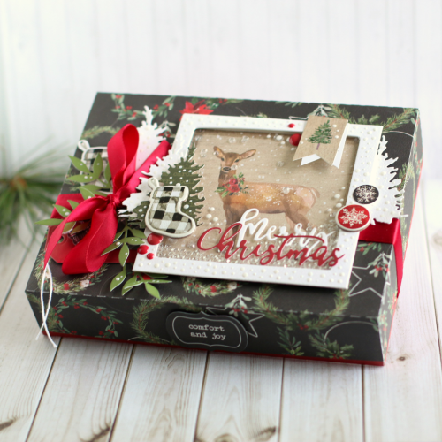 "Christmas Box with Bonus Shaker Topper by Anya Lunchenko featuring the ""Christmas"" Collection by #CartaBellaPaper"