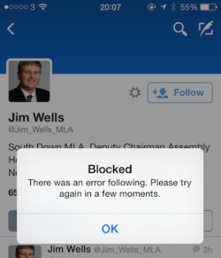 Blocked from twitter by Jim Wells