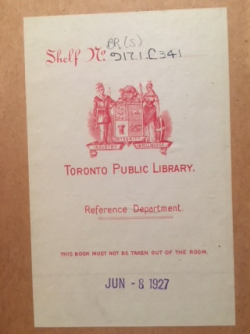 Toronto Public Library bookplate from 1927