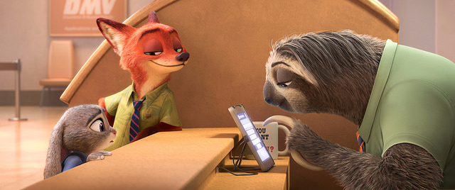 Flash the sloth working at the DMV in the Zootopia trailer.