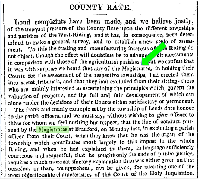 "Screenshot from ""COUNTY RATE"", Leeds Mercury, 24 Aug. 1833, British Library Newspapers"