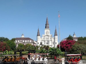 Jackson Square (with St. Louis Cathedral in the background) is a popular spot.