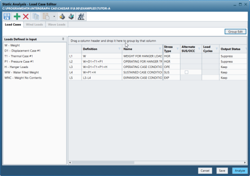 CAESAR II Static Analysis Load Case Editor