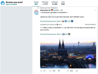 Retweet of an official AfD tweet on the day of the election