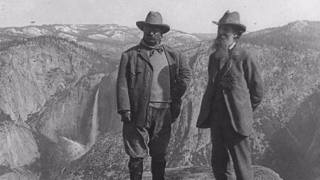 Picture of Theodore Roosevelt and John Muir part of the US National Park collection on their website.