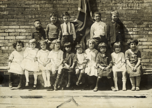 Fourteen nationalities are represented in this primary class at York Street Public School in Toronto, 1923.