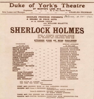 Single paged program for theatrical performance with characters and cast members listed in columns