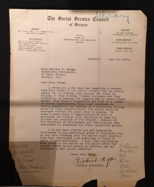 Letter from Gilbert Agar, General Secretary, Social Service Council of Ontario to Marjory Gregg, University Settlement Toronto: May 14, 1920 History of Canadian Settlements fonds