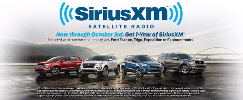 Sirius XM Satellite Radio free 1-year trial subscription with purchase or lease of any Ford Escape, Edge, Expedition or Explorer - Smail Ford Blog