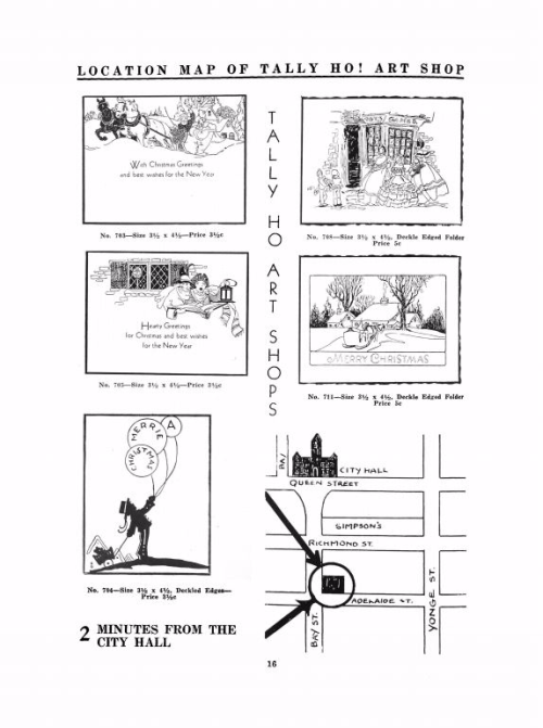 Black and white images of postcards from a catalogue  along with a small map showing the store's location
