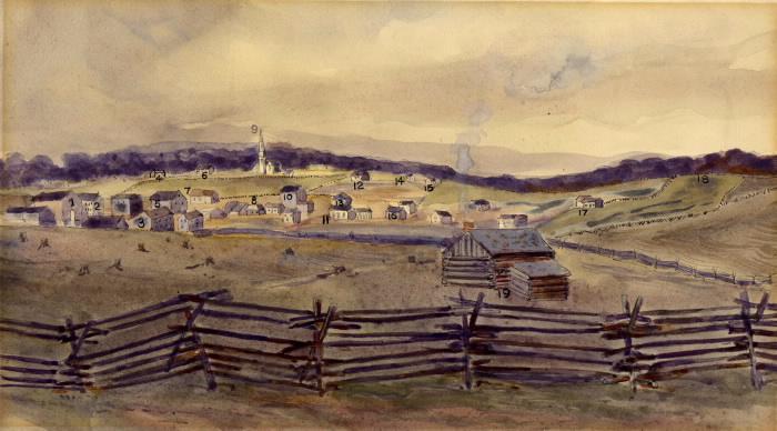 Painting of town of Fergus  Ontario  1837