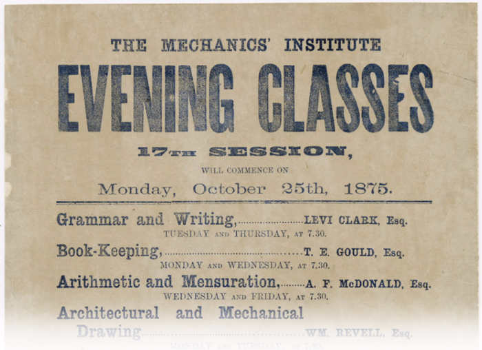 Yellowed paper with big letters reading Evening Classes and then a list of classes