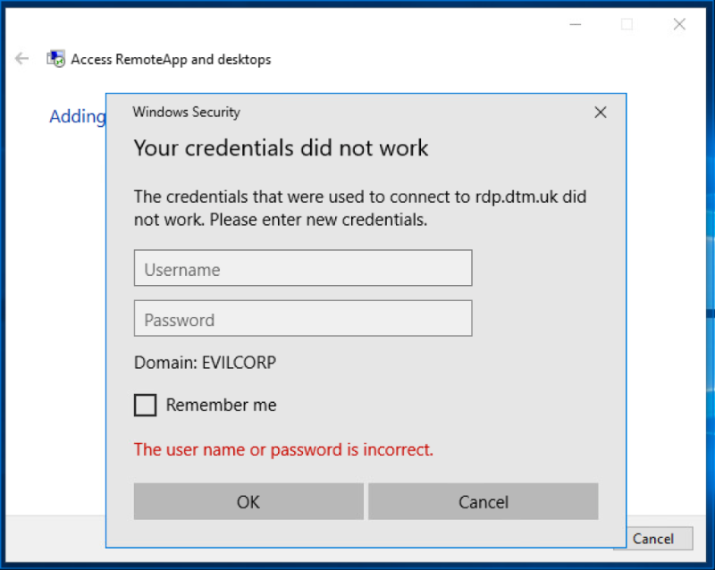 Credential prompt on a Windows 10 host