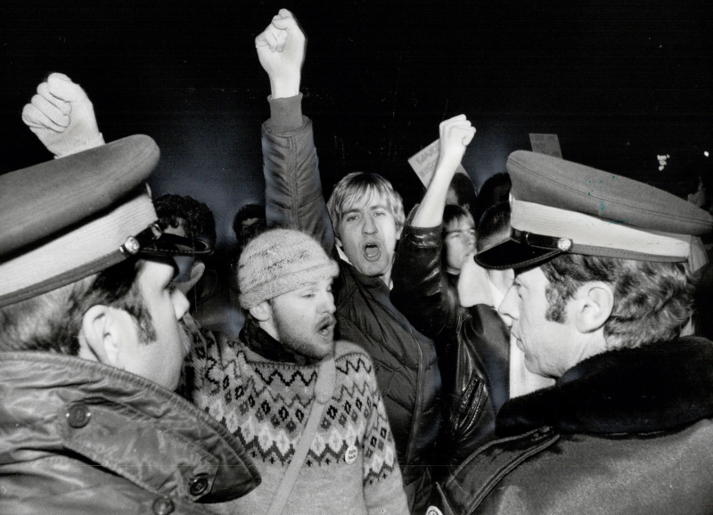 Protesters clash with police after raids on men's bath houses in 1981