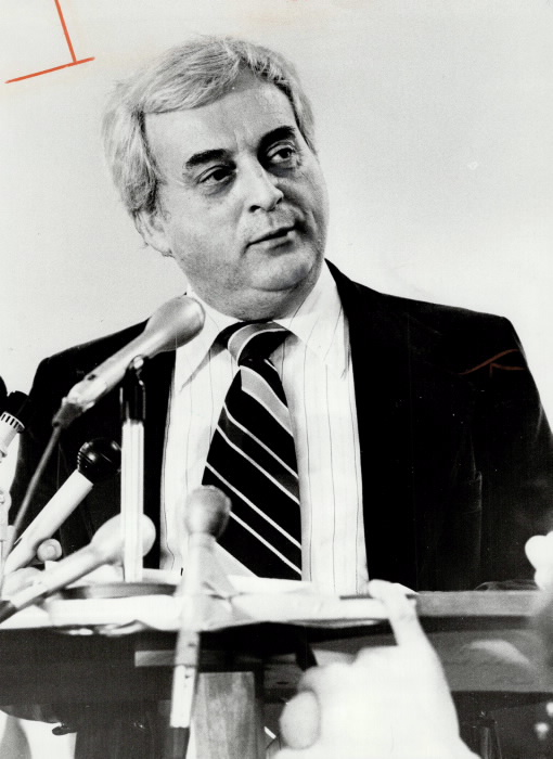 George Hislop speaking at a press conference in Toronto