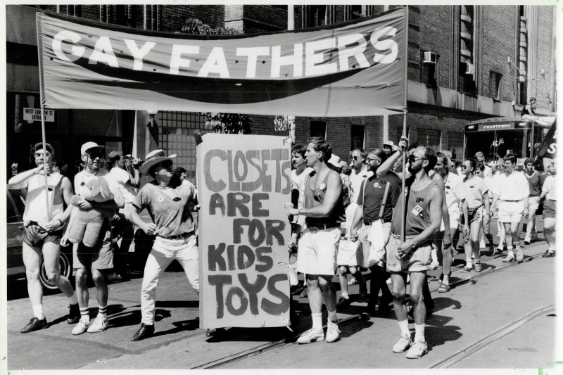 A group of gay fathers march together at the 1991 Toronto Pride Parade